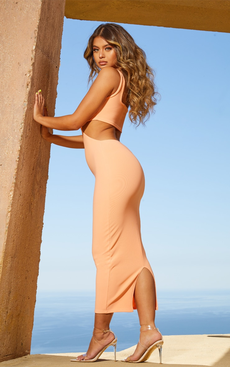 Peach Second Skin Square Neck Cut Out Midaxi Dress 4