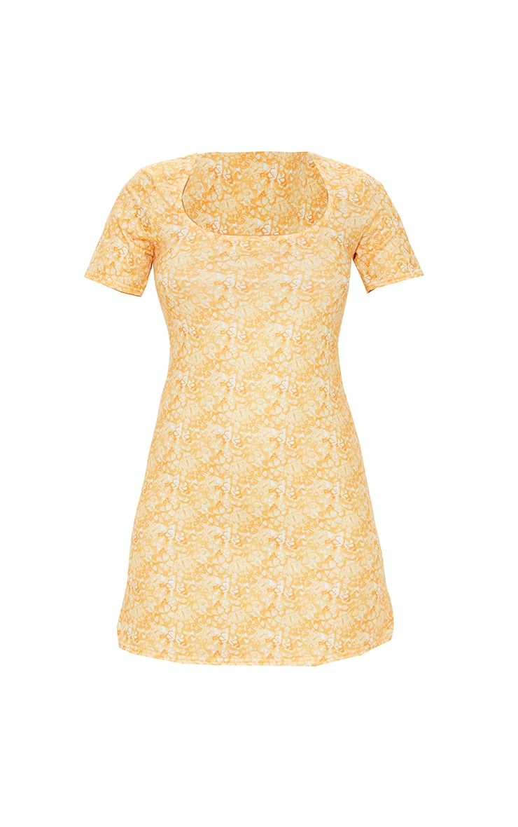 Yellow Butterfly Print Square Neck Shift Dress 5