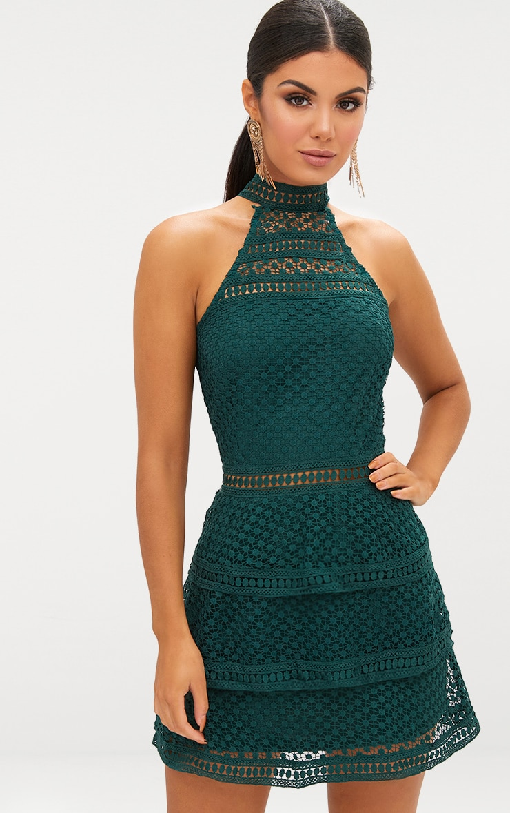 Emerald Green Lace Panel Tiered Bodycon Dress 1