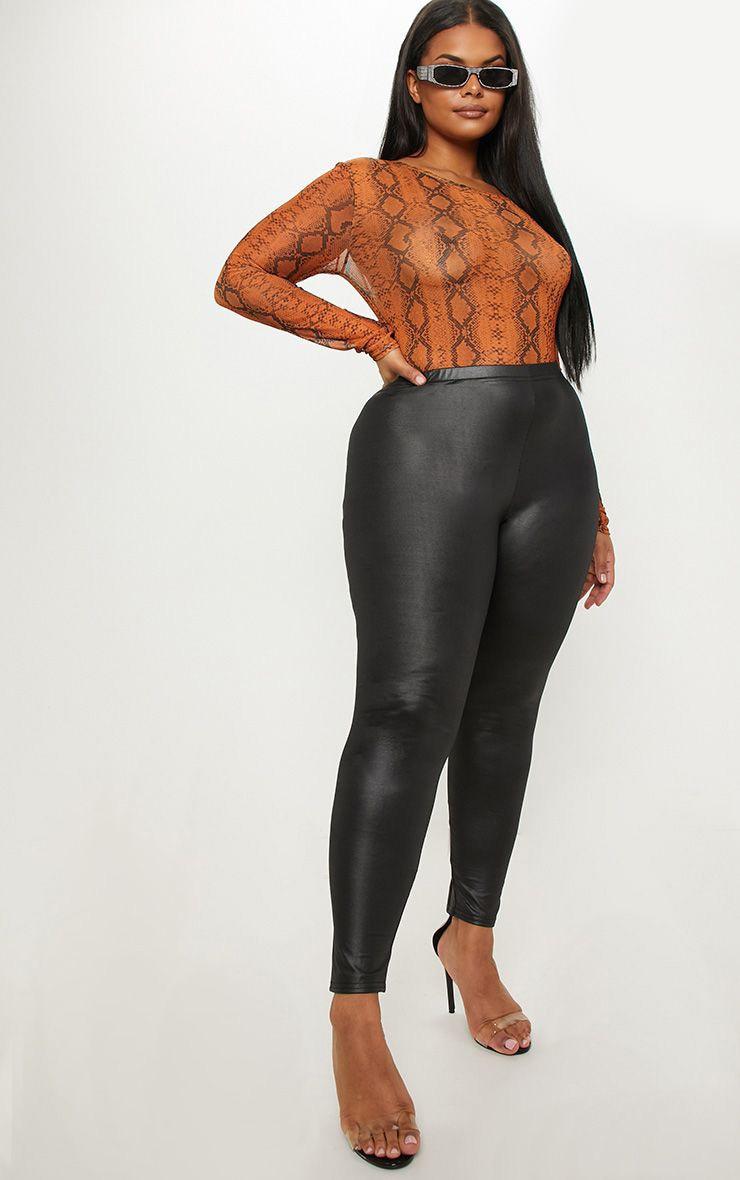 Plus Black PU Detail Legging 1