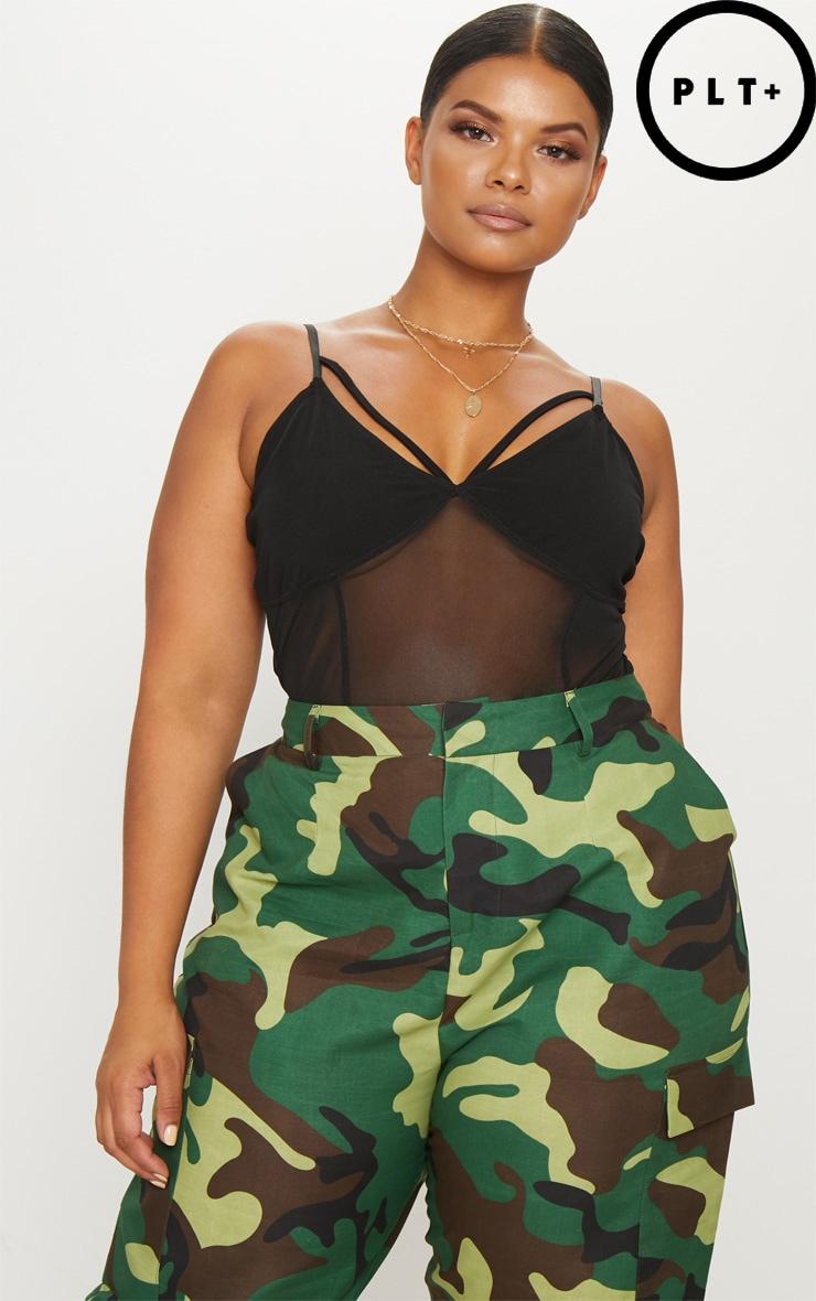 Plus Black Harness Detail Mesh Bodysuit 1
