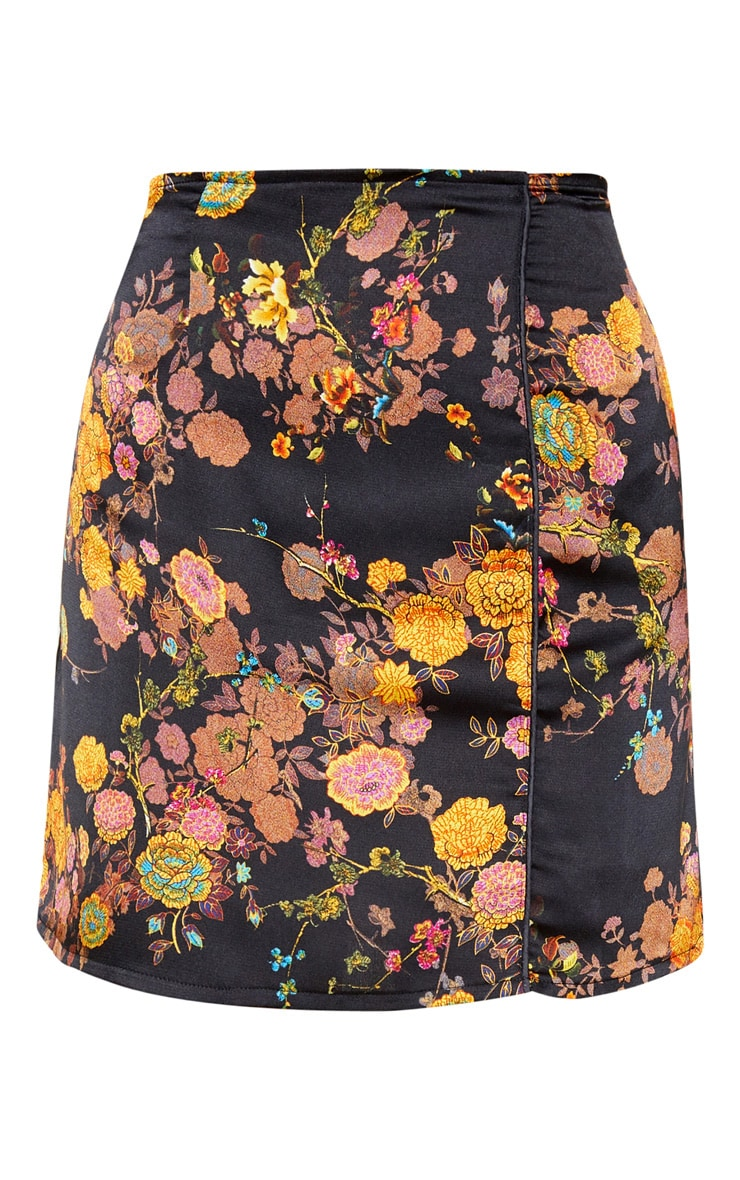 Black Print Satin A Line Skirt 3
