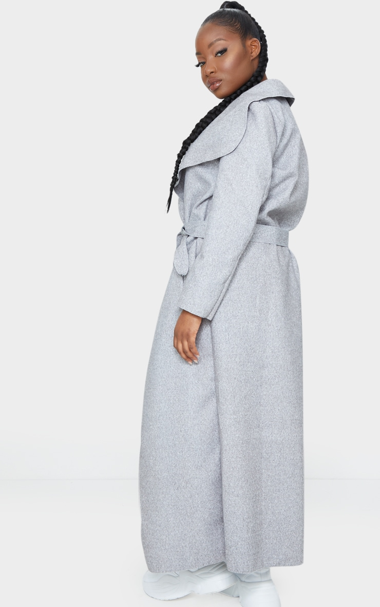 Petite Grey Maxi Length Oversized Waterfall Belted Coat 2