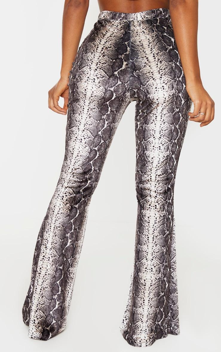 Shape Taupe Velvet Snake Print Flared Pants 4