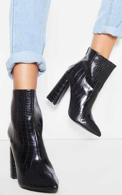 Black Croc Wide Fit Block Heel High Ankle Boot