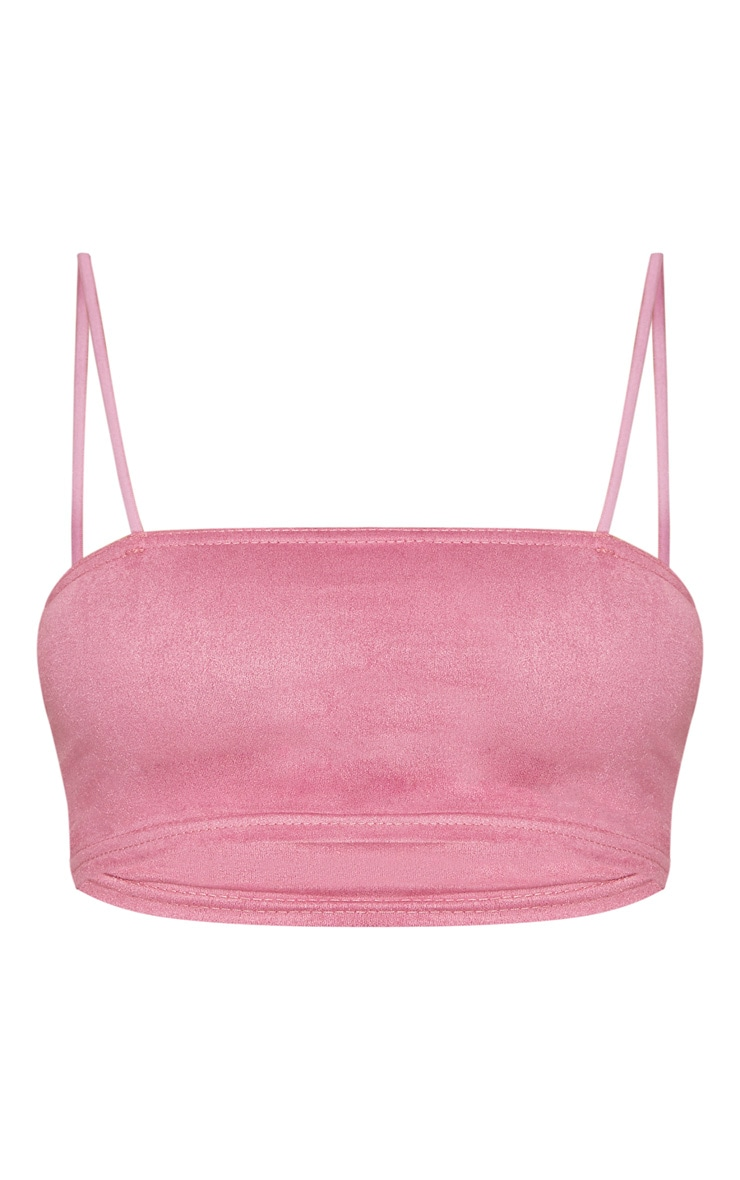 Shape Rose Faux Suede Strappy Straight Neck Crop Top 3