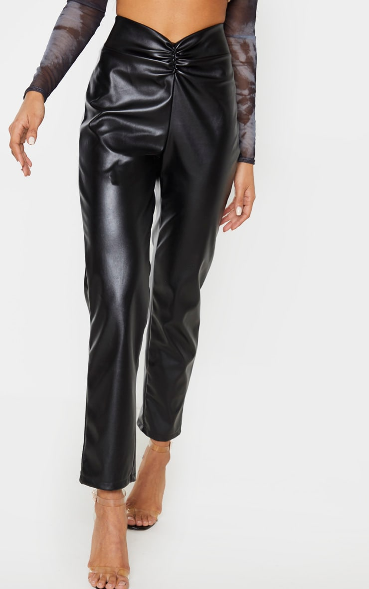Black Faux Leather Trouser  2