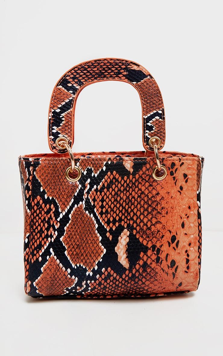 Mini sac à main orange effet serpent à détail anneaux 2