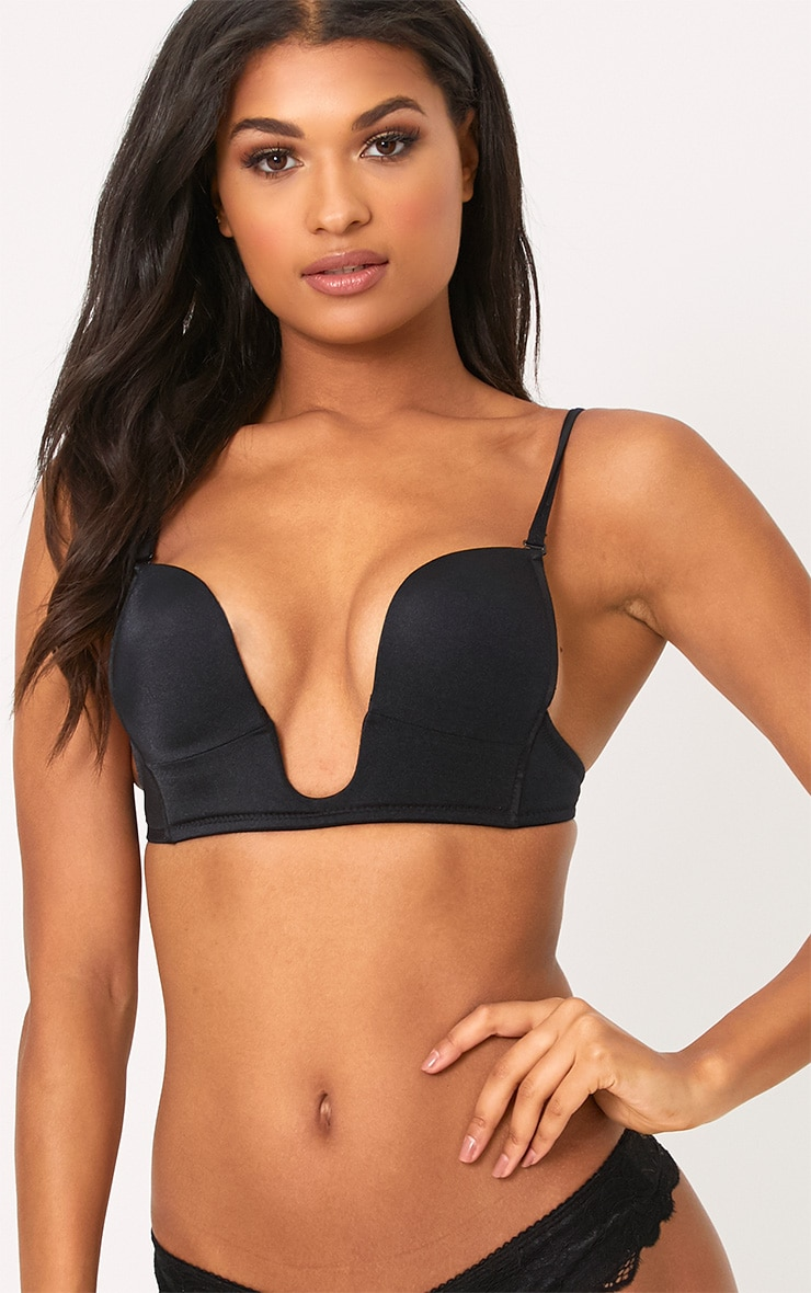 Black Strappy Plunge Bra 1