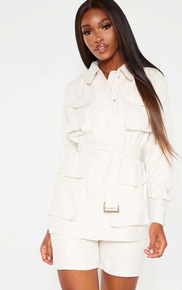 Cream Faux Suede Pocket Detail Jacket  1