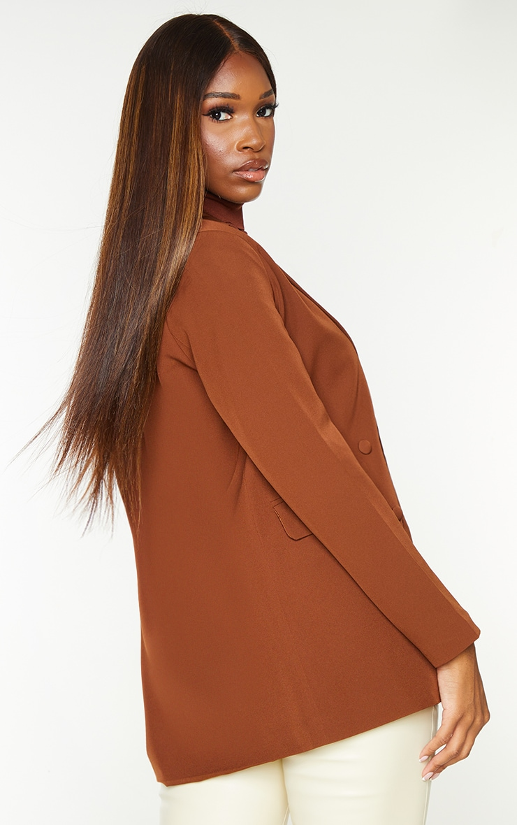 Chocolate Double Breasted Covered Button Blazer 2