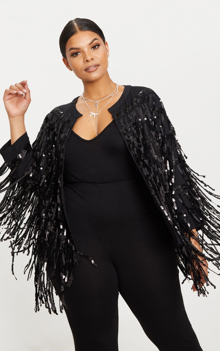 Plus Black Sequin Fringed Jacket 1