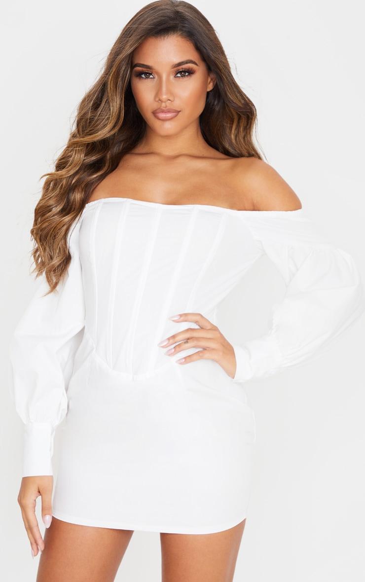 White Woven Bardot Corset Detail Bodycon Dress 1