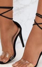 Black Clear Strap Ankle Tie Heels 5