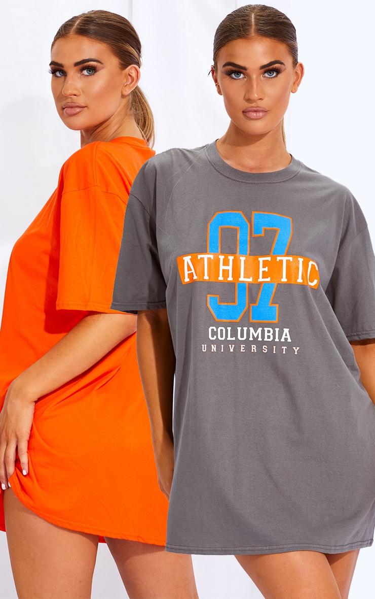 Charcoal & Orange 2 Pack Slogan & Plain T Shirt Dresses 1