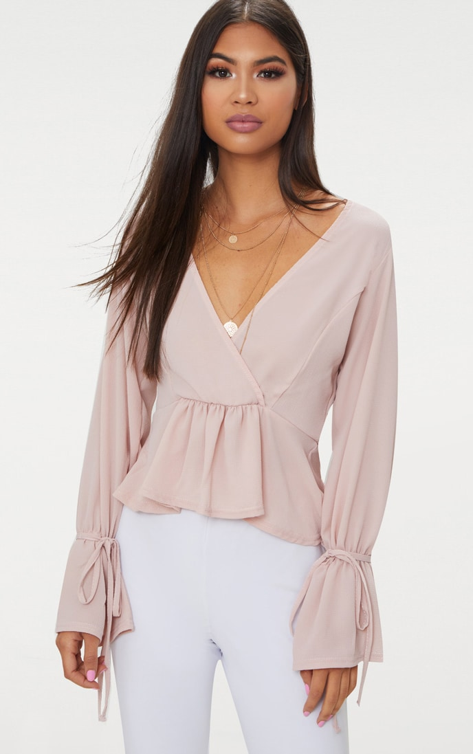Blush Chiffon Deep Plunge Blouse  1