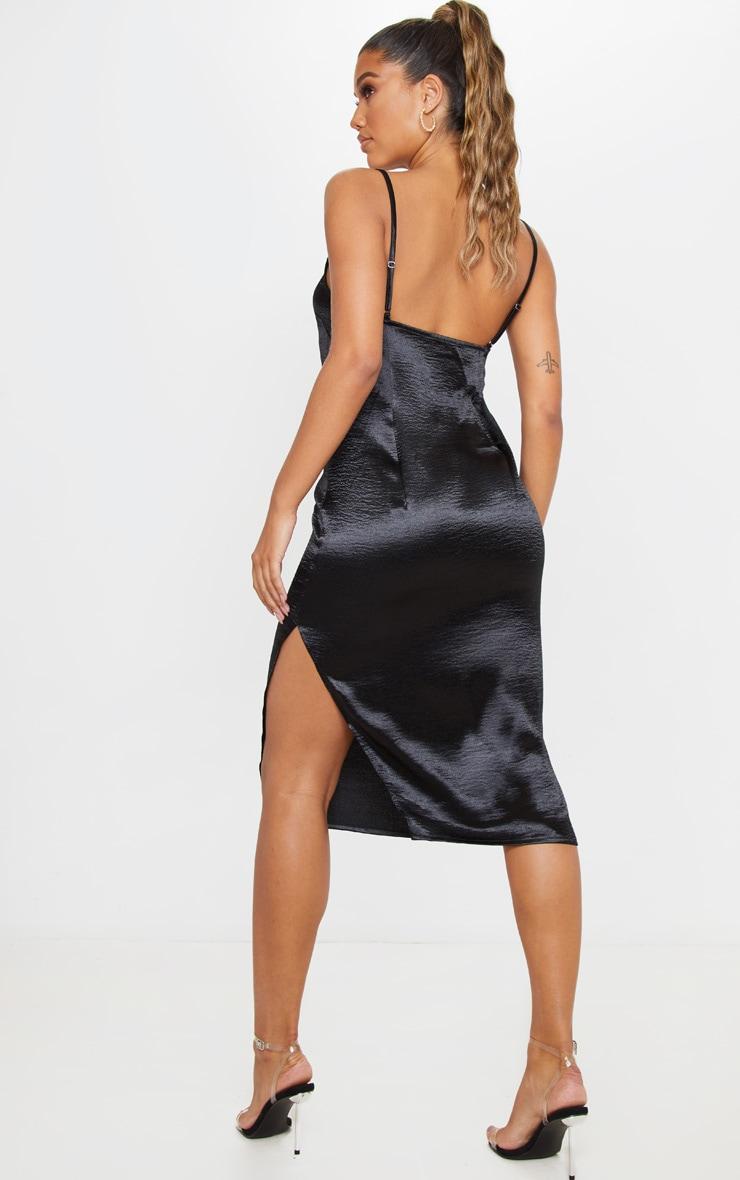 Black Hammered Satin Slip Midaxi Dress 2