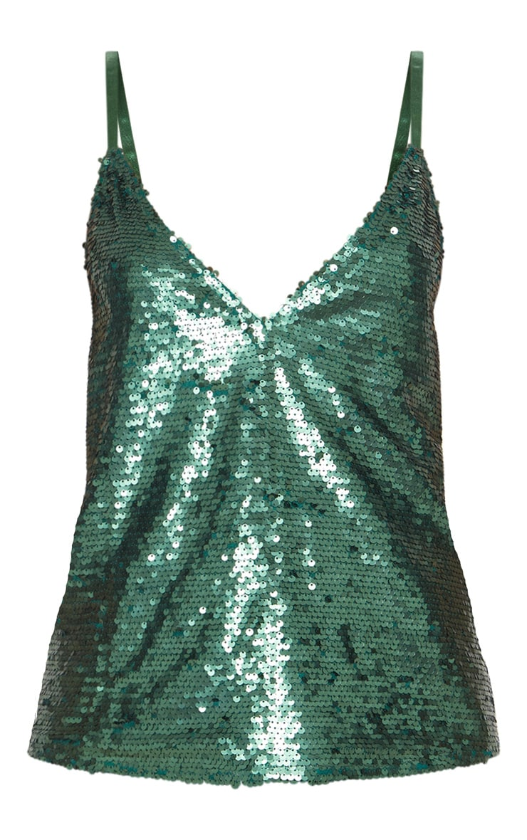 Emerald Sequin Front Cami Top 3