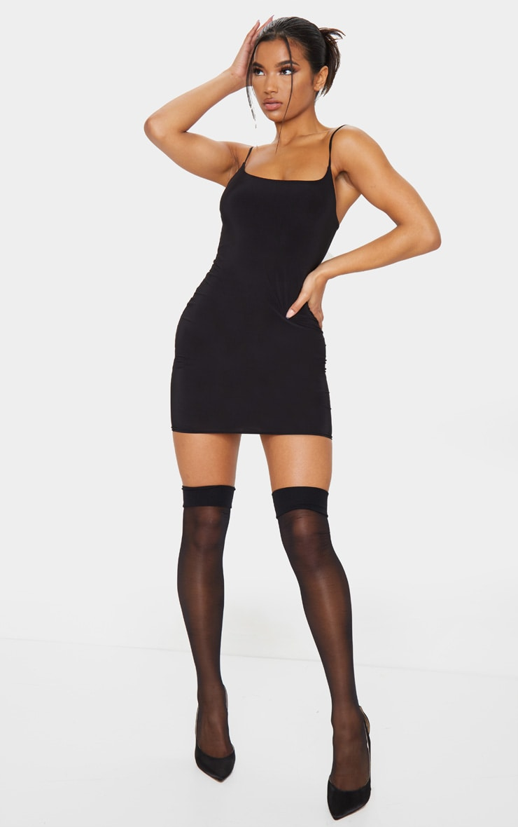 Basic Black Slinky Spaghetti Strap Bodycon Dress 3