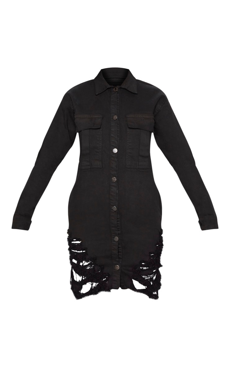 Black Super Distressed Denim Shirt Dress 3