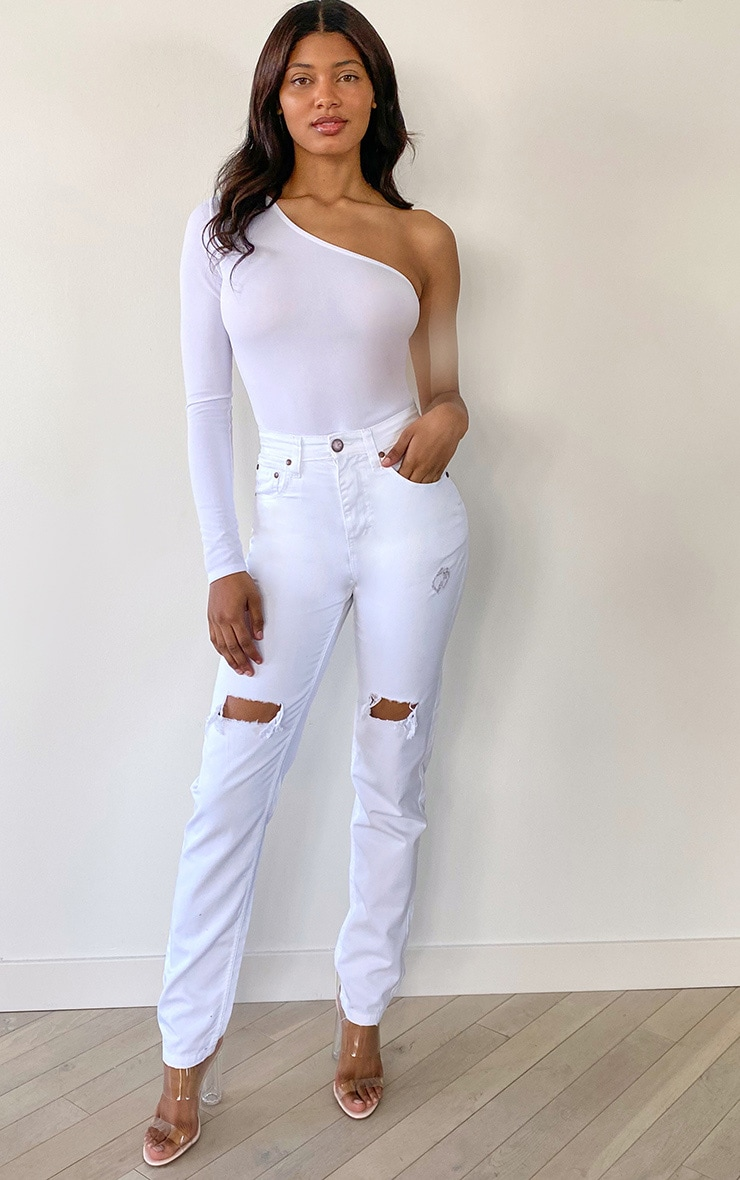 Tall White Rip Knee Mom Jean 1