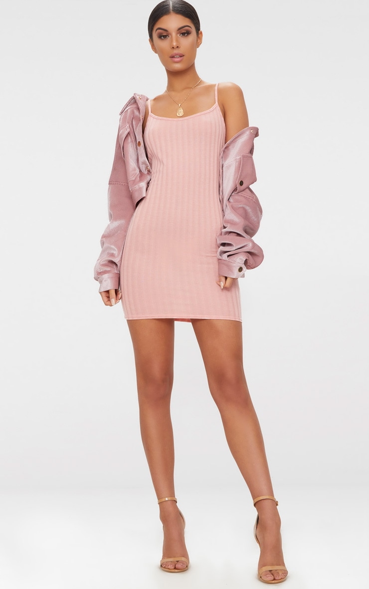 Pink Rib Knit Strappy Dress 4