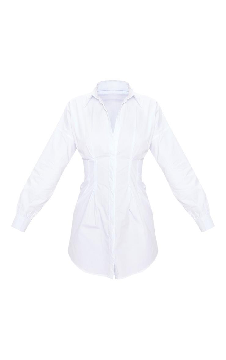 White Fitted Waist Shirt Dress 3
