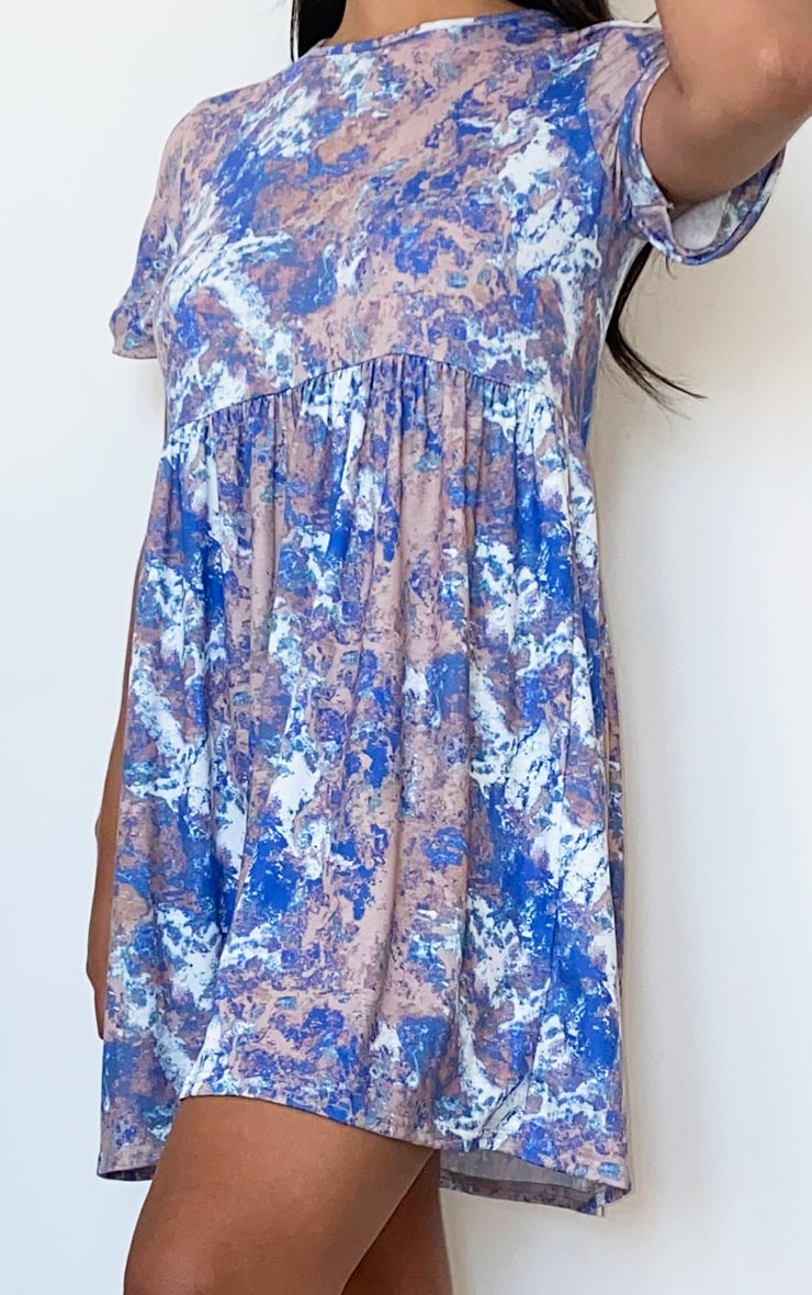 Blue Tie Dye Print Short Sleeve Smock Dress 4