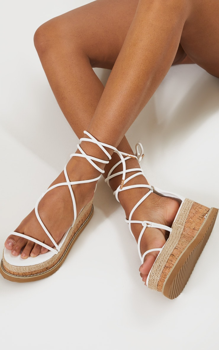 White Lace Up Strappy Flatform Sandal 3