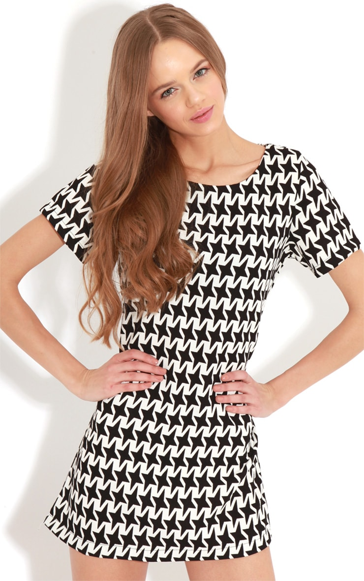 Kat Monochrome Exaggerated Dogtooth Dress 1