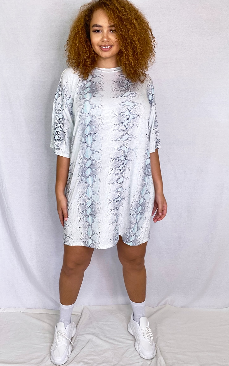 Plus Ecru Snake Print T-Shirt Dress 3