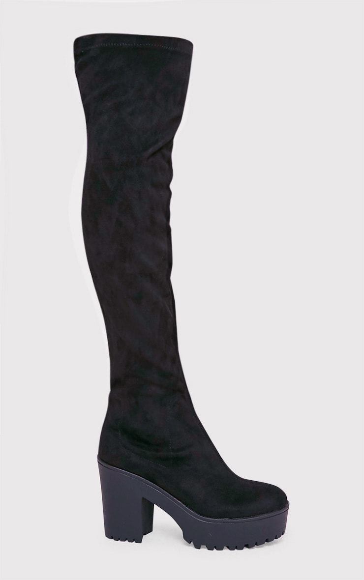 Teresa Black Cleated Platform Over the Knee Boot 2