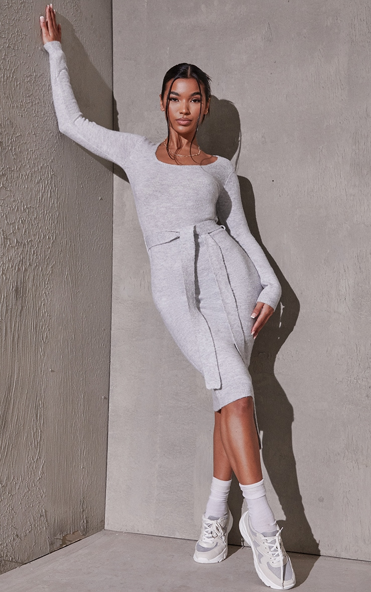 Light Grey Recycled Belted Square Neck Knitted Midi Dress 1