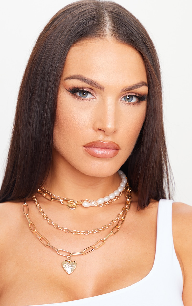 Gold Assorted Chain Pearl Layering Necklace 1