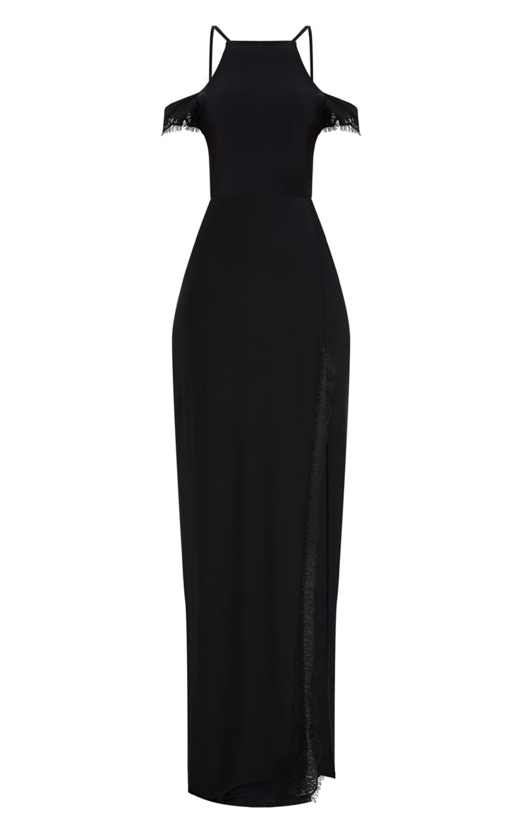Black Lace Trim Cold Shoulder Extreme Split Maxi Dress 3