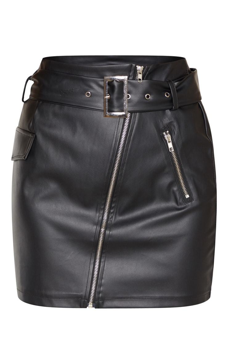 Tall Black Belt Detail PU Mini Skirt 3