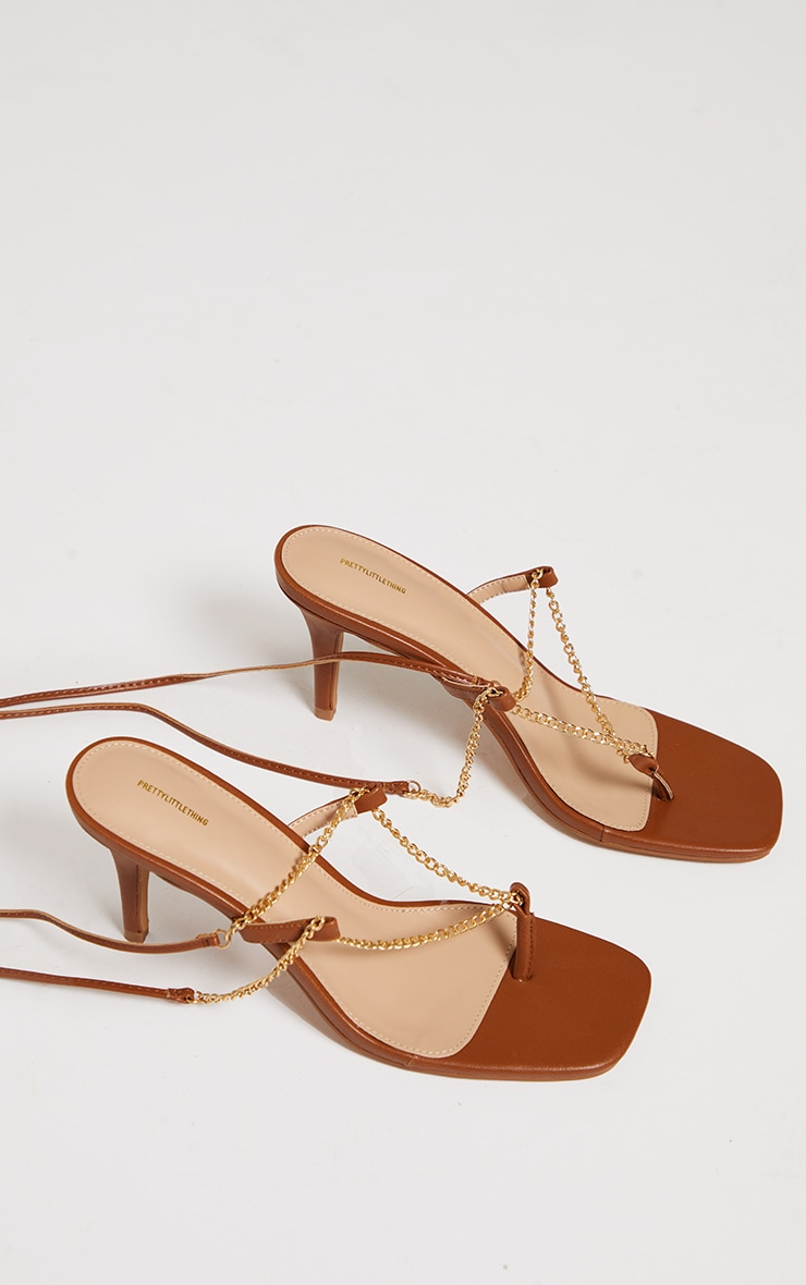 Chocolate Chain Toe Thong Lace Up Heeled Sandals 4