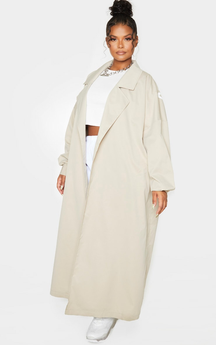 PRETTYLITTLETHING Plus Stone Contrast Panel Trench Coat 6