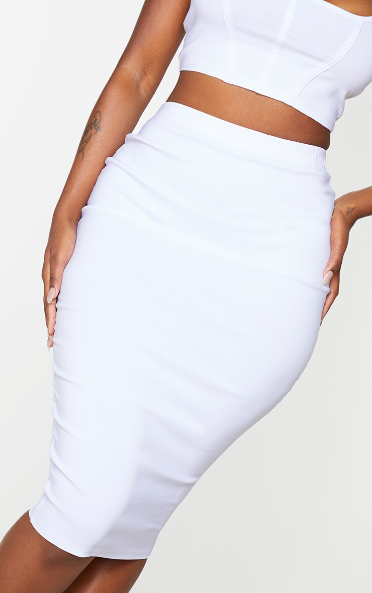 Shape Cream Stretch High Waist Midi Skirt 4
