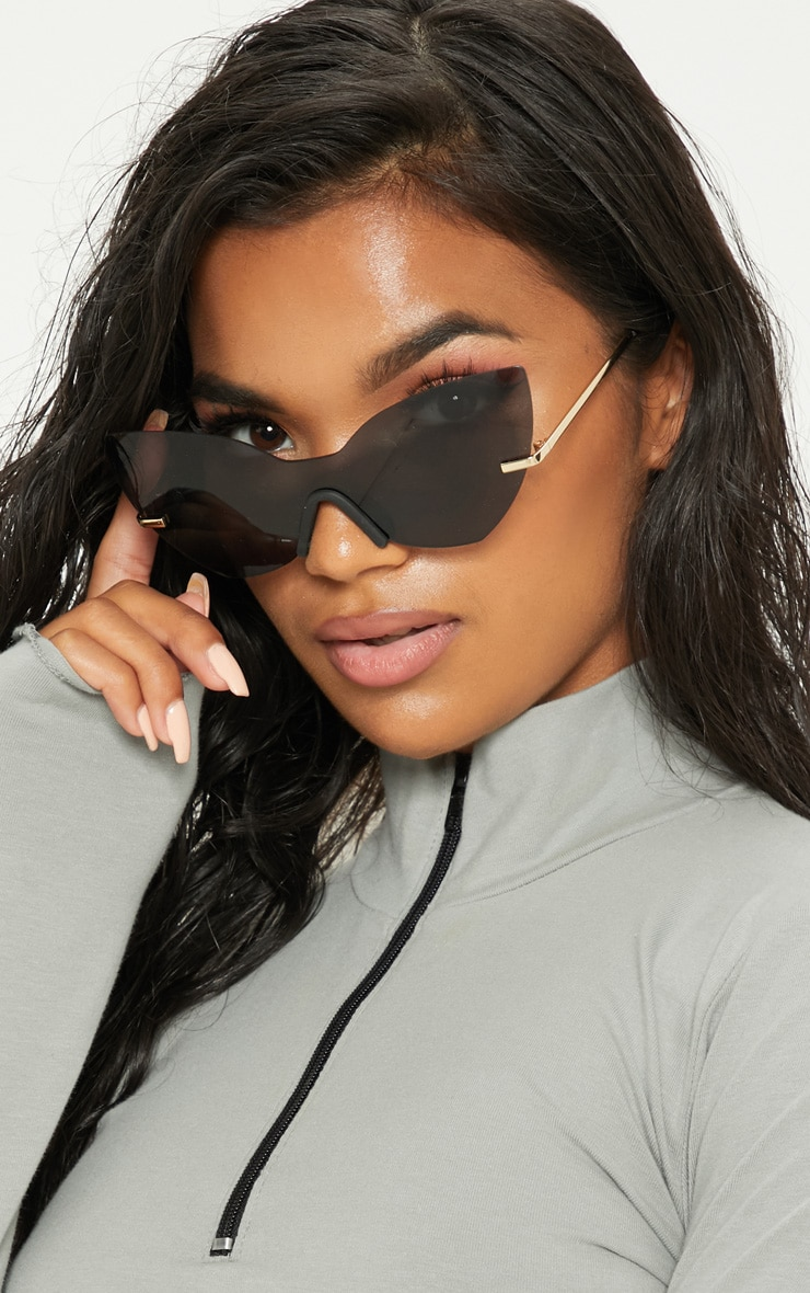 Black Frameless Cat Eye Sunglasses