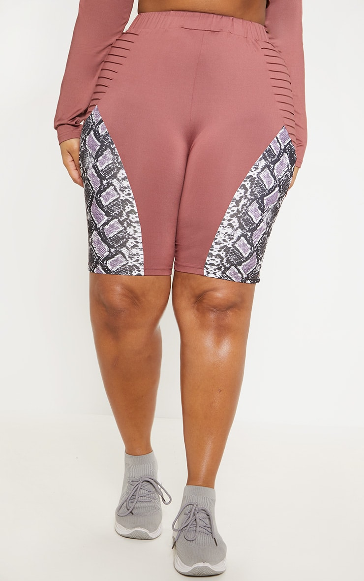 Plus Dark Rose Snake Panel Bike Short  2