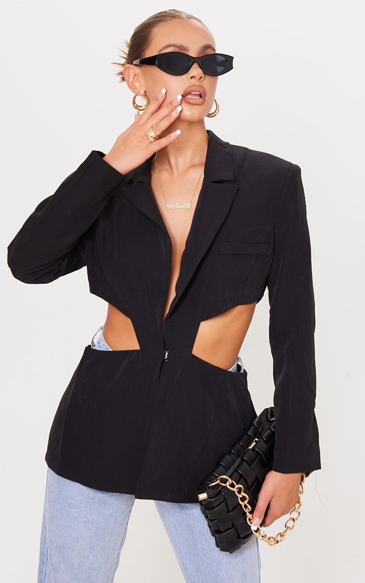 Black Woven Extreme Cut Out Blazer 1
