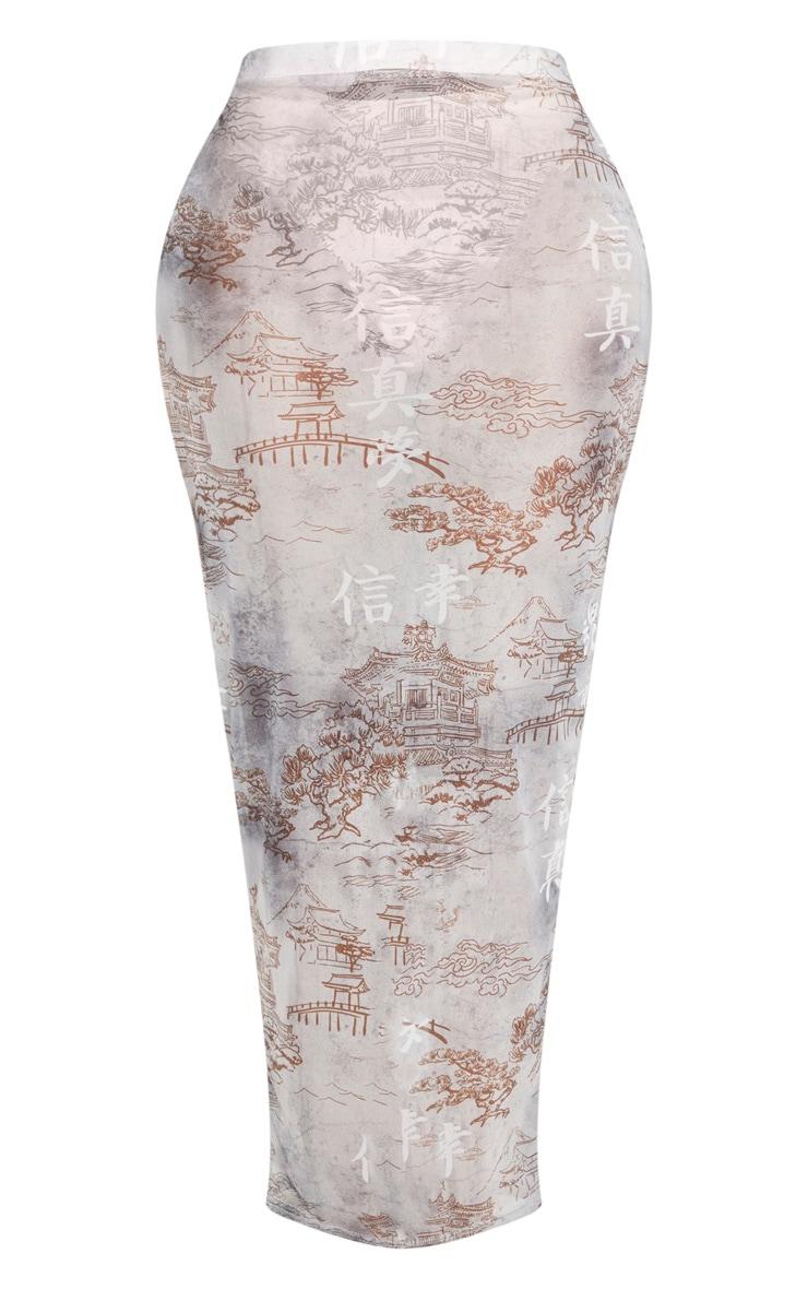 Shape Black Oriental Mesh Midaxi Skirt 3
