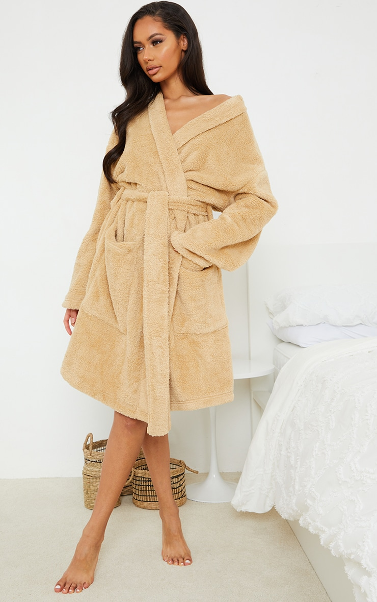Stone Oversized Fluffy Dressing Gown 1