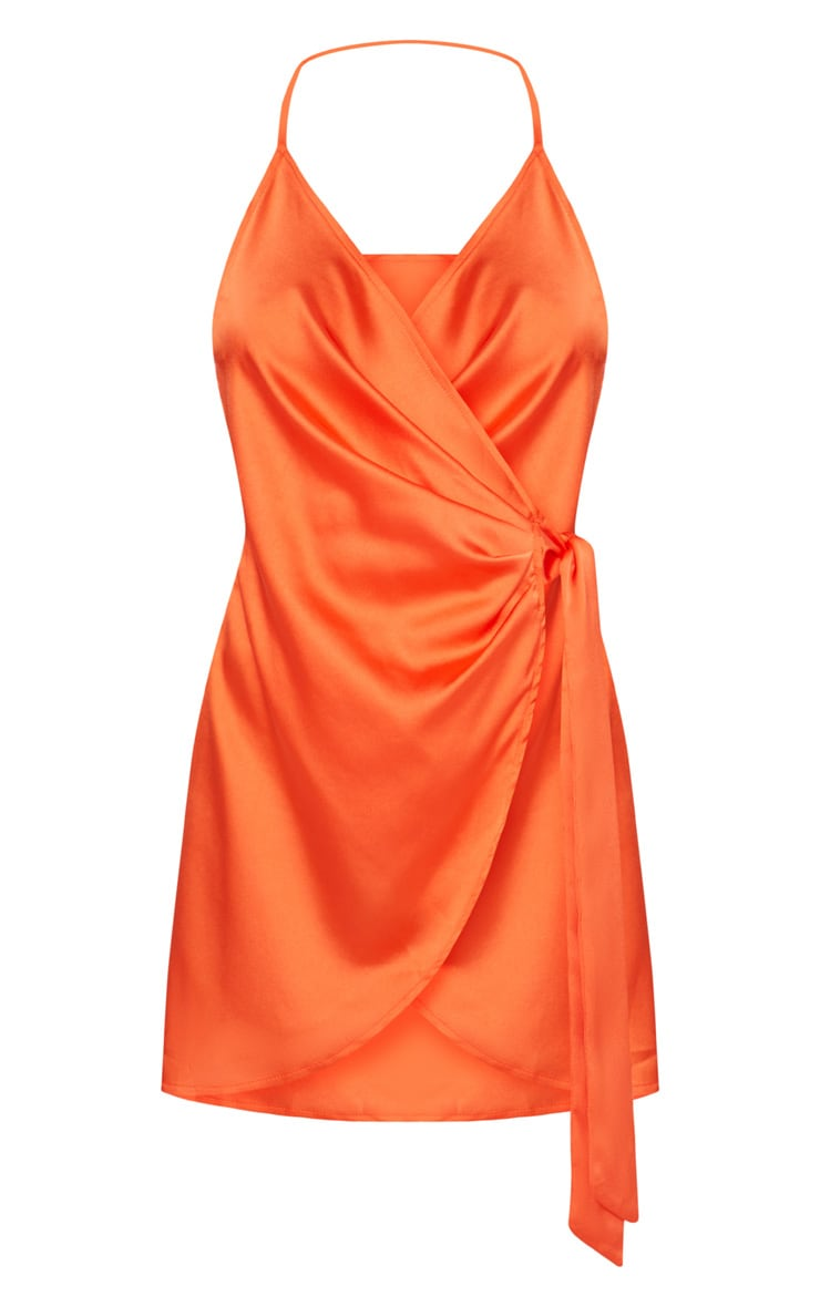 Orange Satin Halterneck Wrap Bodycon Dress 3