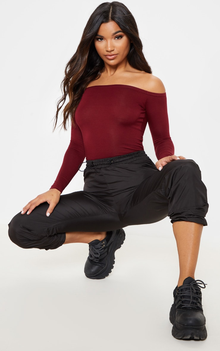 Burgundy Basic Bardot Bodysuit 5