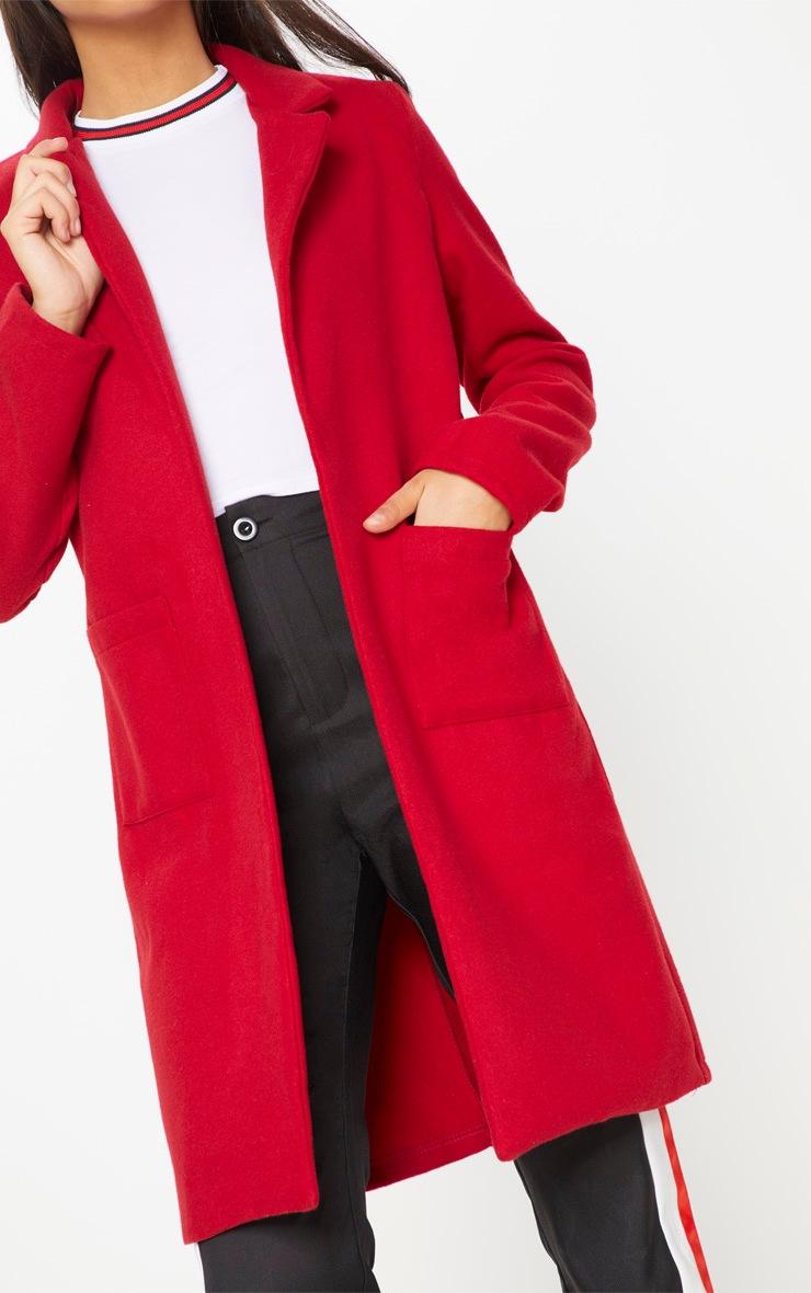 Red Pocket Front Coat  5