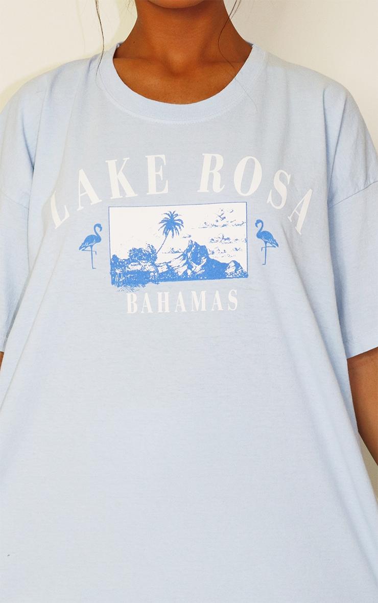 Blue Lake Rosa Logo Oversized Washed T Shirt 4