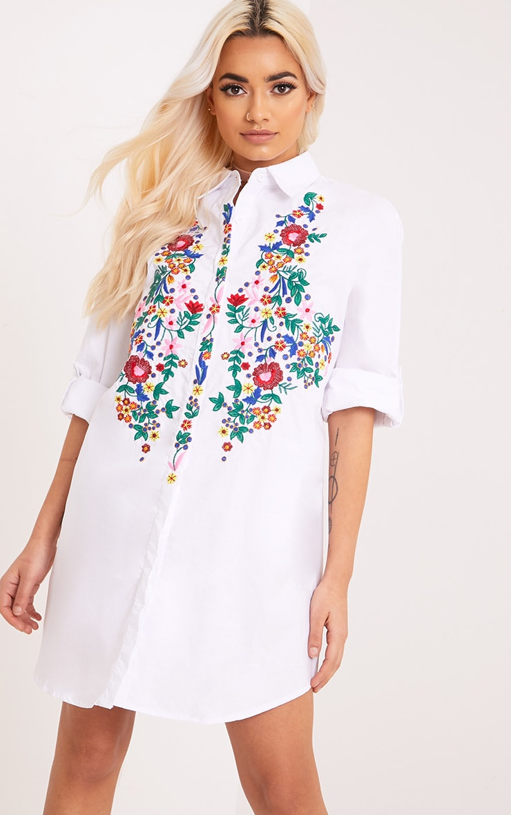 028d95db617 Emmillia White Floral Embroidered Shirt Dress image 1