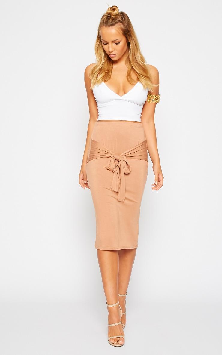 Raemona Camel Tie Midi Skirt 1